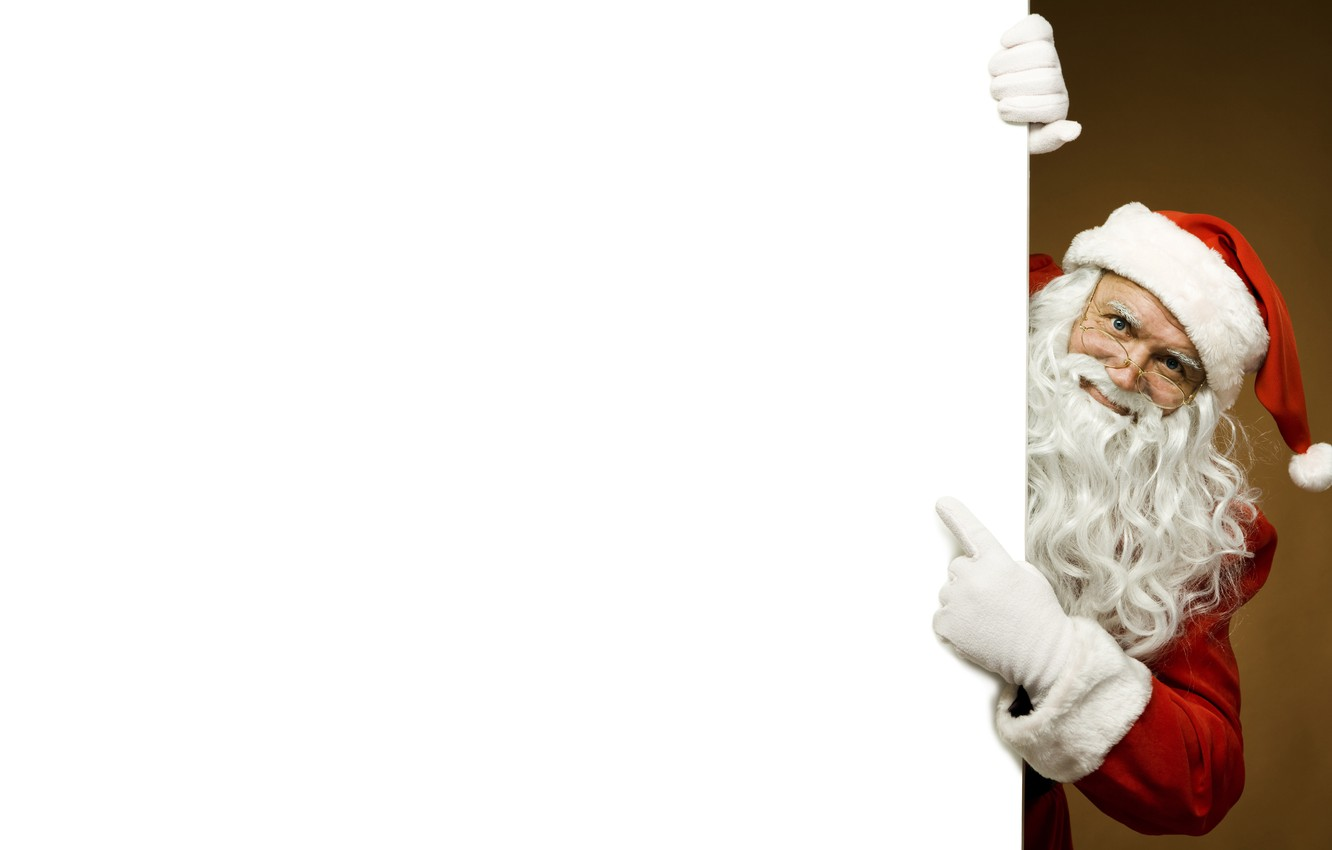 Photo wallpaper white, red, face, canvas, pose, background, new year, Christmas, glasses, the old man, beard, Santa …