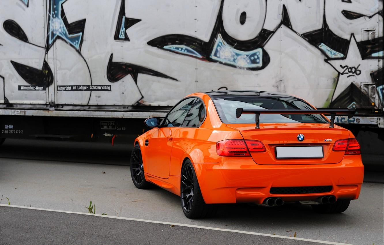 Photo wallpaper Auto, BMW, Boomer, BMW, Orange, Graffiti, GTS, Coupe, CSL, Spoiler