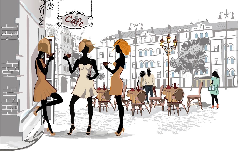 Photo wallpaper the city, girls, street, Paris, coffee, home, Cafe