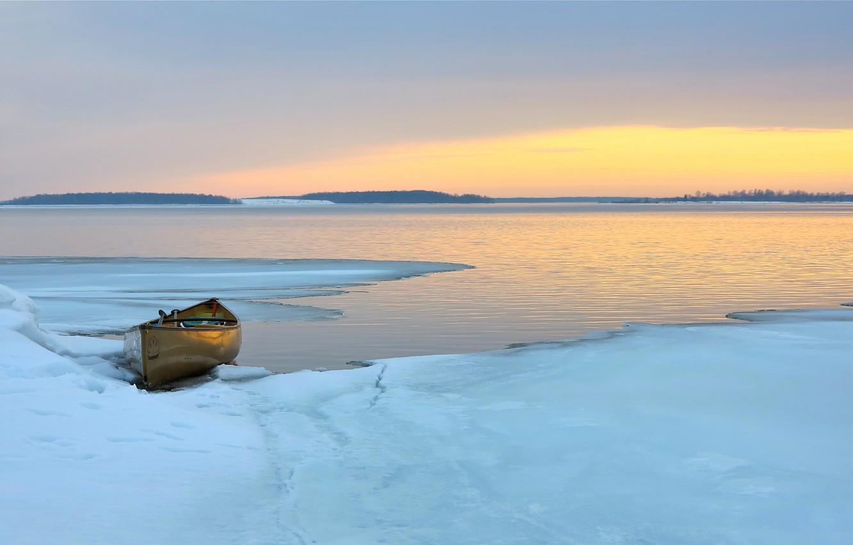 Photo wallpaper Sunset, Ice, Lake, Boat