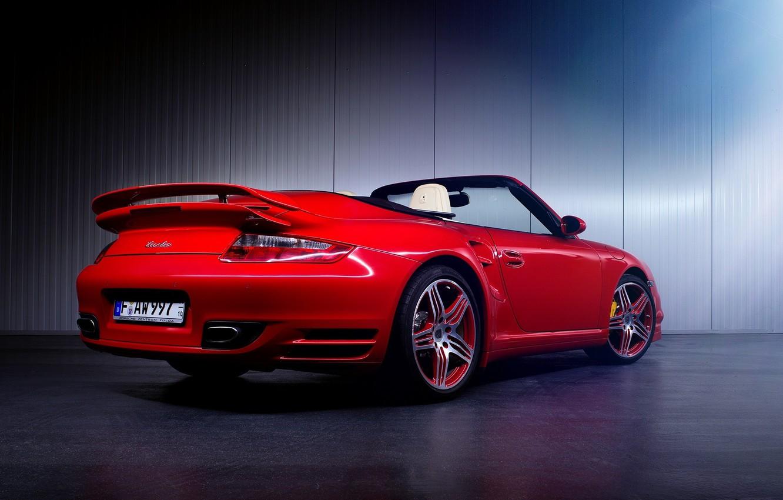 Photo wallpaper 997, Porsche, Red, Car, Turbo, Sport, Cabrio, Rear