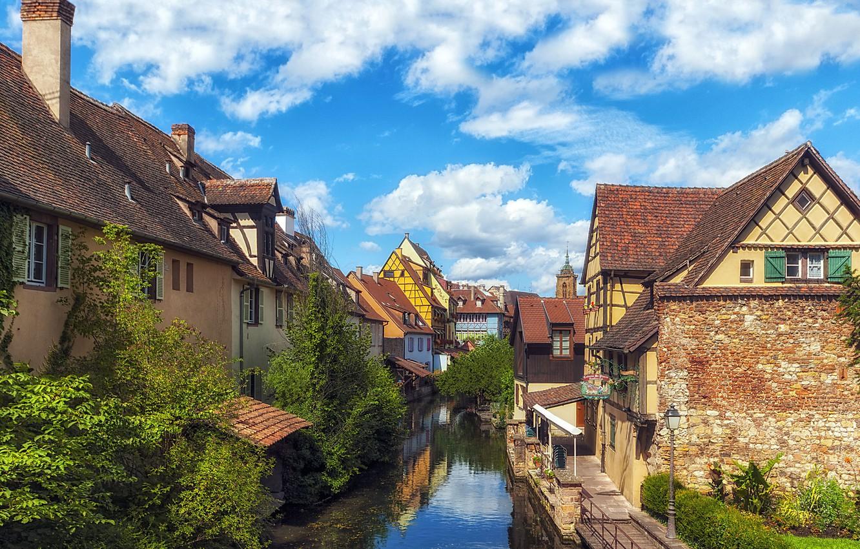 Photo wallpaper France, home, channel, the urban landscape, Colmar, Fachwerk