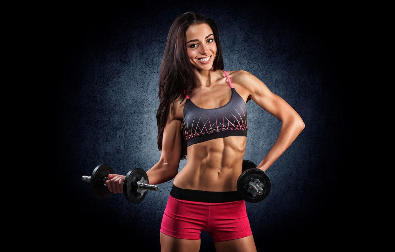 Wallpaper Fitness Woman Press Dumbbells Workout Fitness