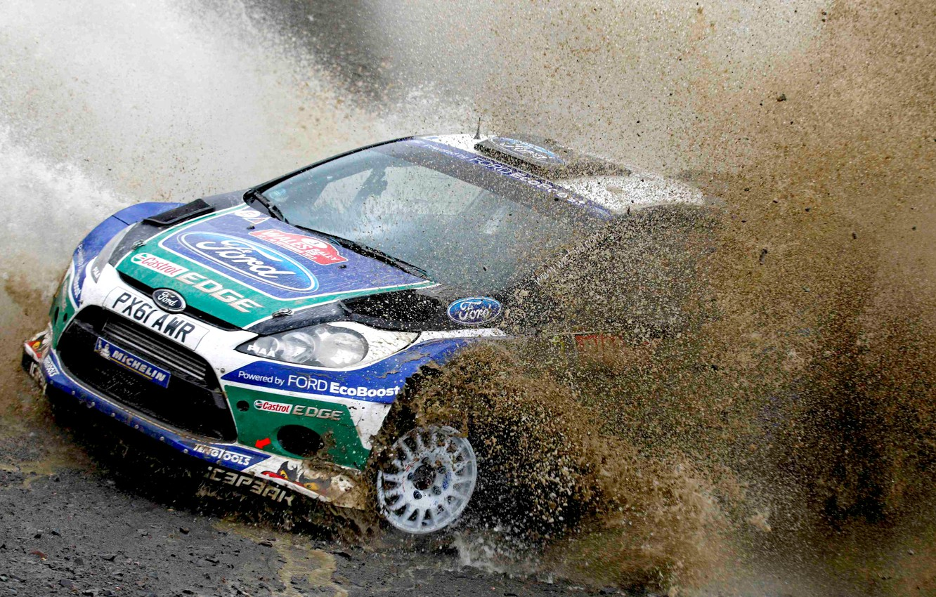 Photo wallpaper Ford, Auto, Sport, Machine, Turn, Ford, Race, The hood, Skid, Dirt, Squirt, Lights, WRC, Rally, …