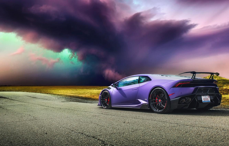 Photo wallpaper road, storm, Lamborghini, hurricane, Lamborghini, Huracan, hurakan