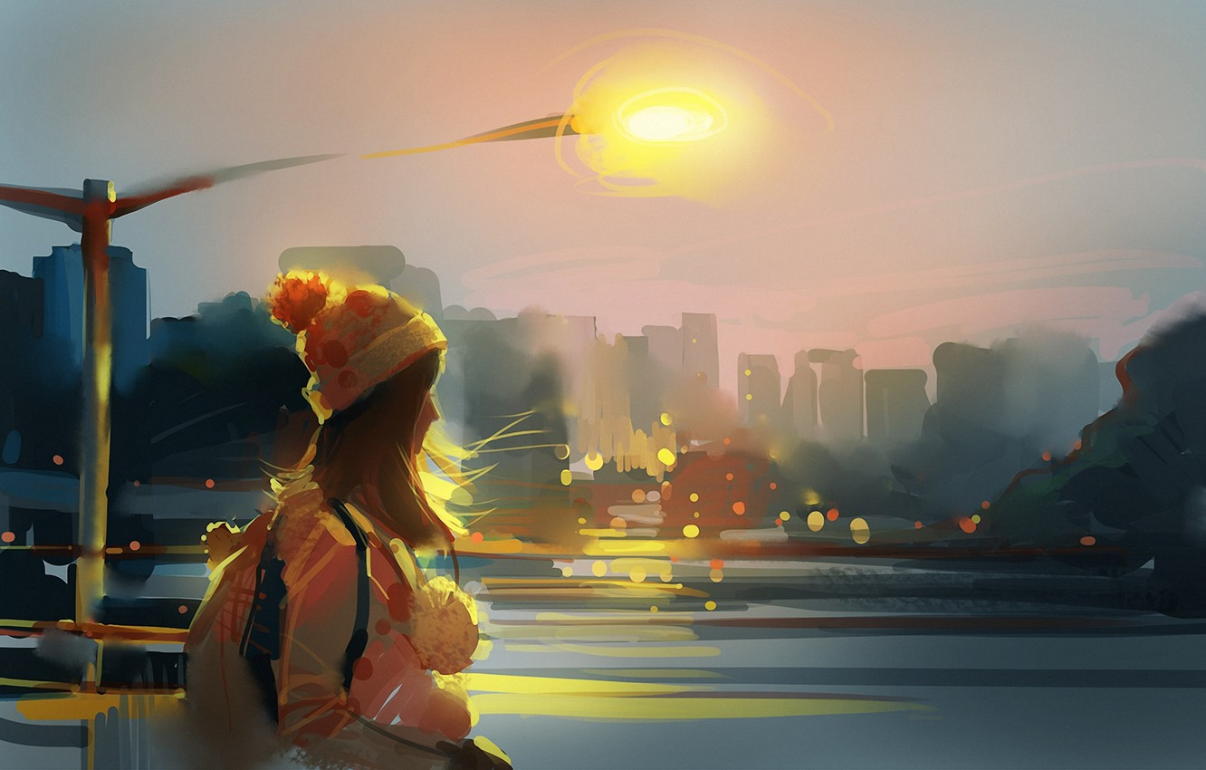 Photo wallpaper girl, the city, river, the wind, hat, art, lantern, backpack