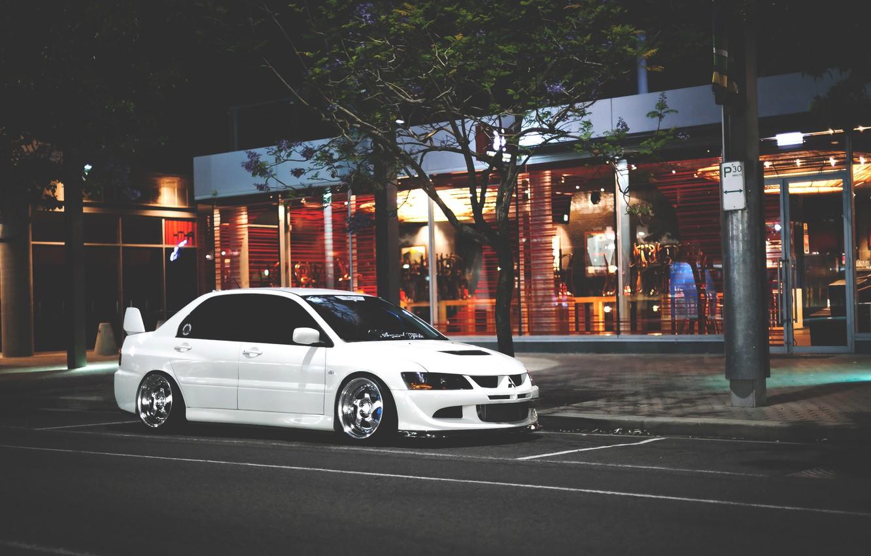 Photo wallpaper Mitsubishi, Lancer, white, Evolution, Lancer, JDM, Evolution, Mitsubishi
