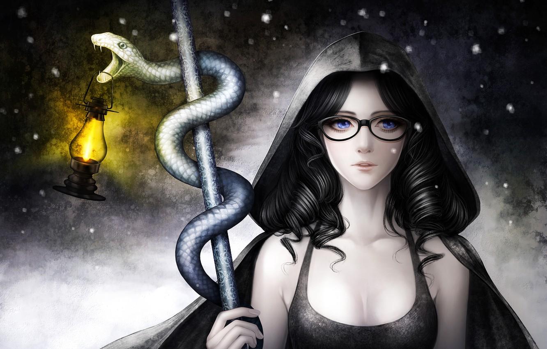 Photo wallpaper look, girl, snake, art, amagi hana