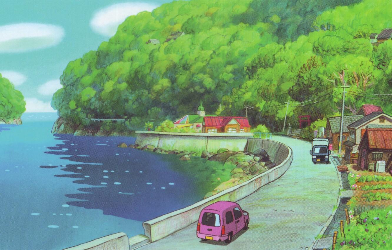 Photo wallpaper road, sea, summer, trees, machine, posts, wire, home, roof, village, promenade, hayao Miyazaki, Ponyo, gake …