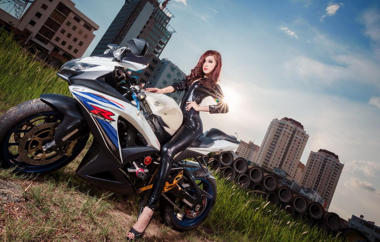 Photo wallpaper girl, motorcycle, Asian