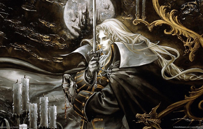 Photo wallpaper castle, cross, sword, vampire, count, blonde