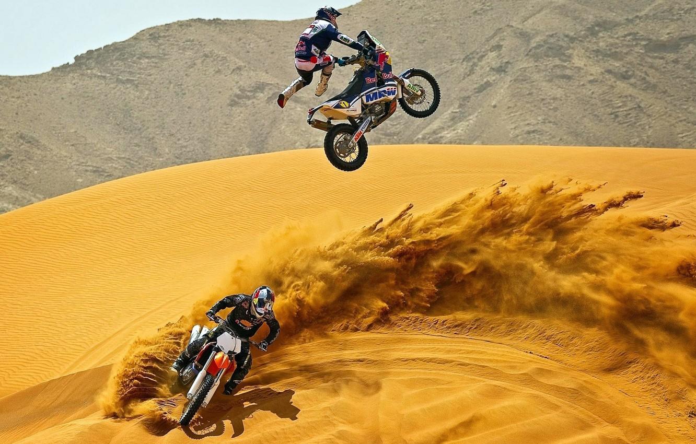 Photo wallpaper SAND, HELMET, MOTOCROSS, COSTUME, MOTORCYCLES, DESERT, JUMPER