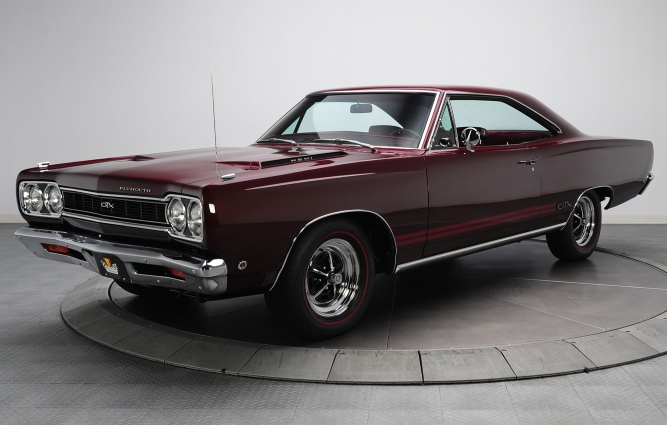 Photo wallpaper background, GTX, Plymouth, the front, Burgundy, 1968, Muscle car, Plymouth, Muscle car, 426, Hemi