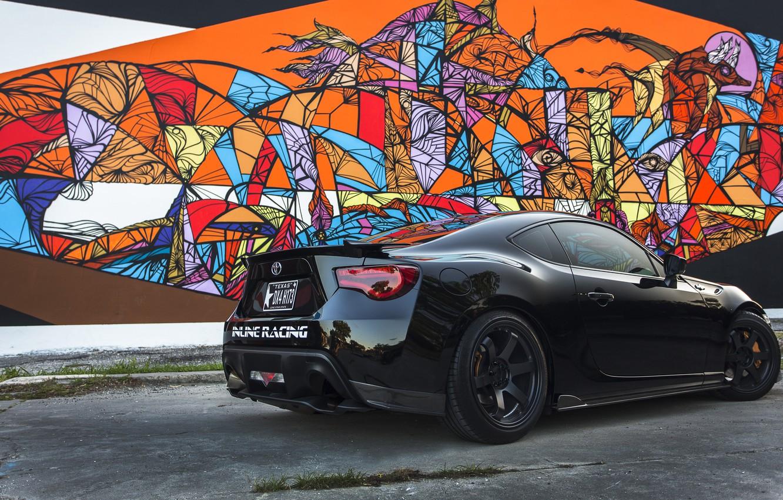 Photo wallpaper glare, black, grafiti, Toyota, black, Sunny, Toyota, GT 86