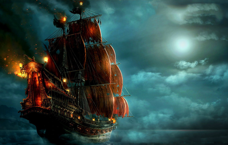 Photo wallpaper sea, clouds, night, lights, the moon, ship, pirates