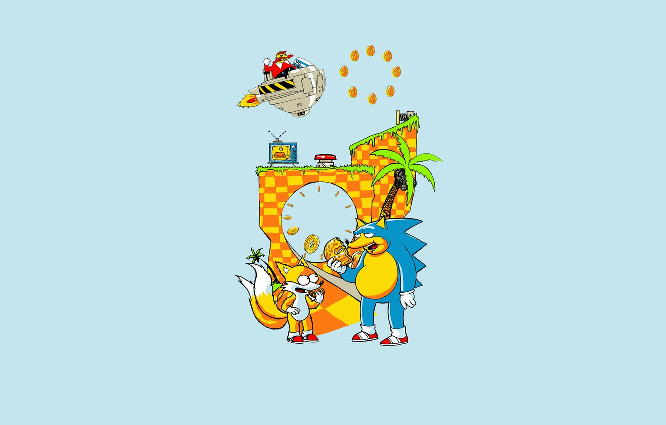 Photo wallpaper childhood, the game, Fox, hedgehog, donuts, console, nostalgia, snickering, sonic, sega, drive, Tails, Dr. Eggman, …