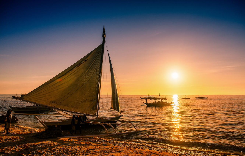 Wallpaper Sea Sunset Boats Philippines Philippines