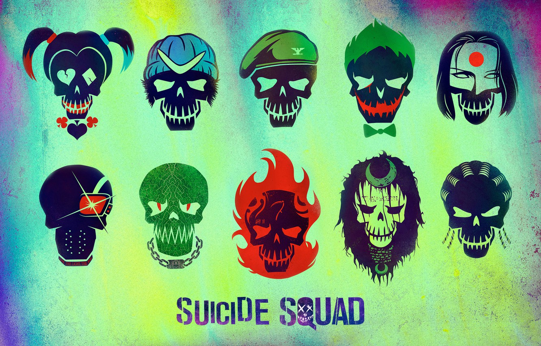 Photo wallpaper Slipknot, Joker, Diablo, Katana, Deadshot, Harley Quinn, Killer Croc, Boomerang, Enchantress, Suicide Squad, Rick Flag