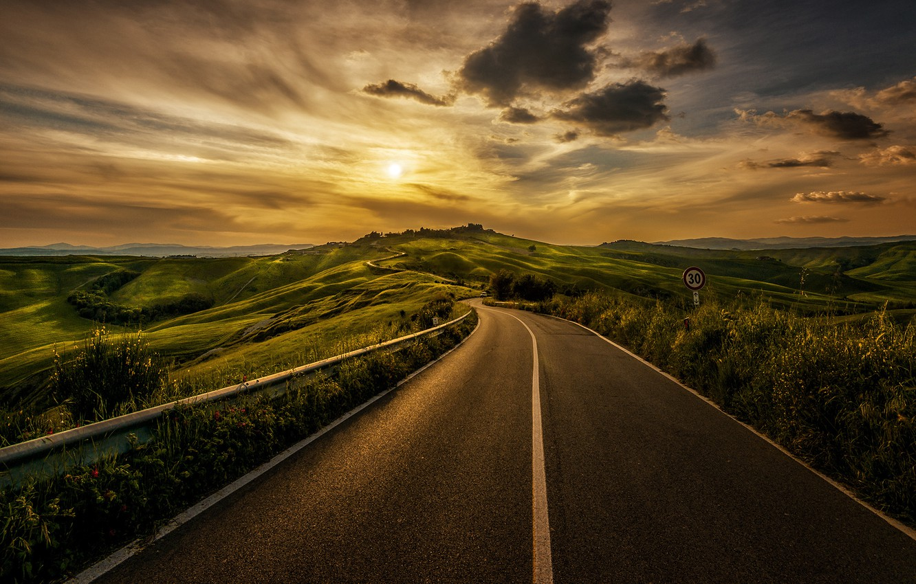 Photo wallpaper road, grass, the sun, clouds, landscape, sign, Italy, grass, road, landscape, Italy, sign, clouds, sun