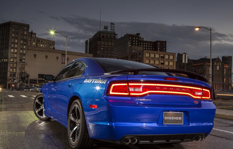 Photo wallpaper light, lights, stop, Dodge, Charger, back, R/T, Daytona