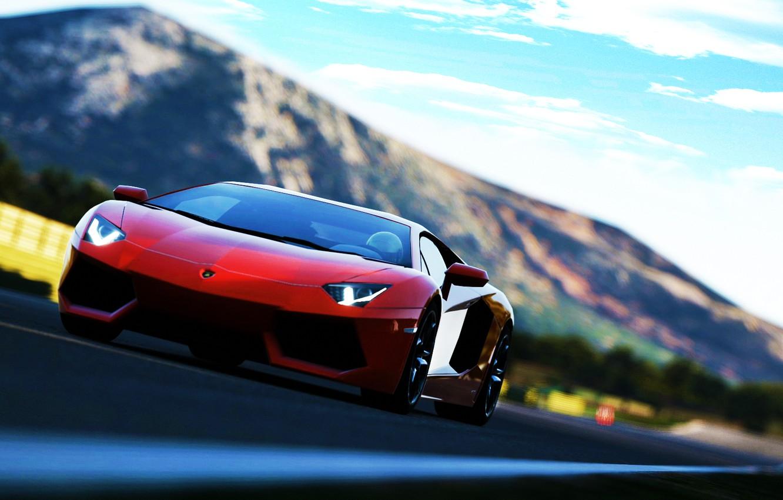 Photo wallpaper red, Lamborghini Aventador, soprt car