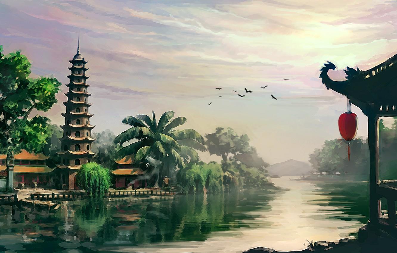 Photo wallpaper landscape, river, Asia, temple, pagoda, Vietnam