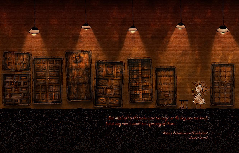 Photo wallpaper Door, Vladstudio, Alice in Wonderland, Lewis Carroll
