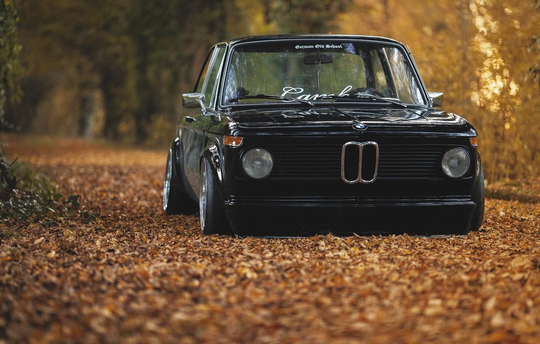 Photo wallpaper autumn, foliage, BMW, black, oldschool