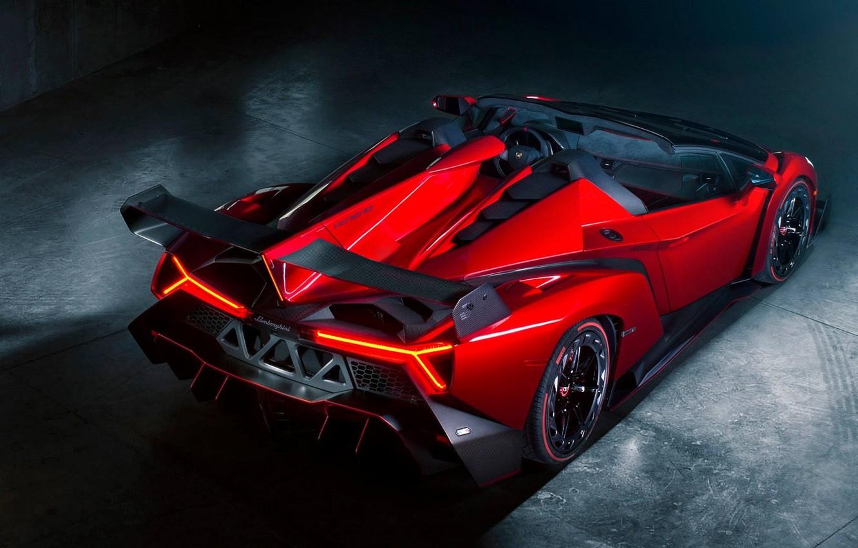 Photo wallpaper Roadster, Red, Lamborghini, Lamborghini, Red, Supercar, Supercar, Roadster, Spoiler, Veneno, Veneno