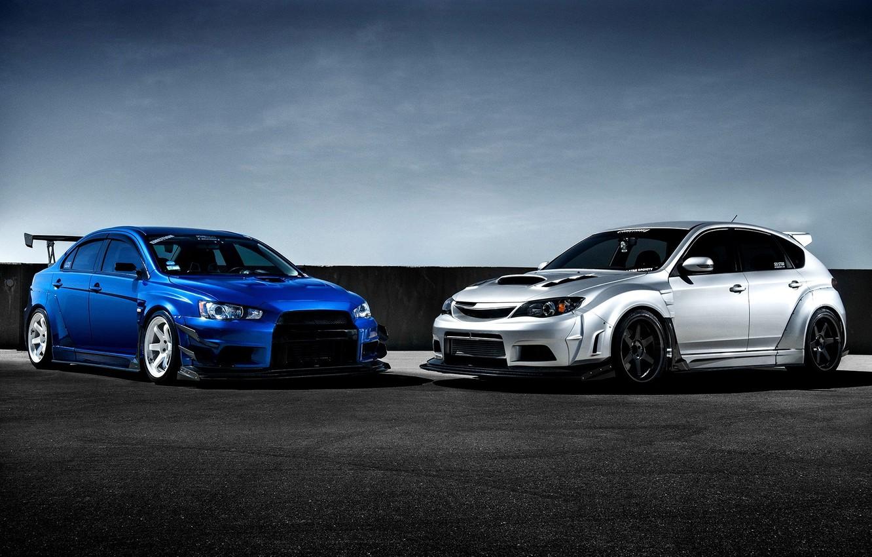 Photo wallpaper Subaru, Impreza, Mitsubishi, Lancer, Evolution, blue, front, silvery, race car, kit, STi