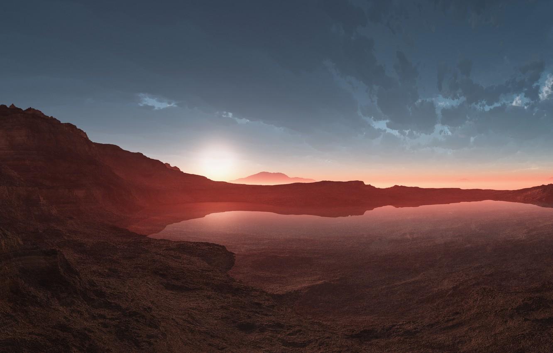 Photo wallpaper sunset, lake, desert