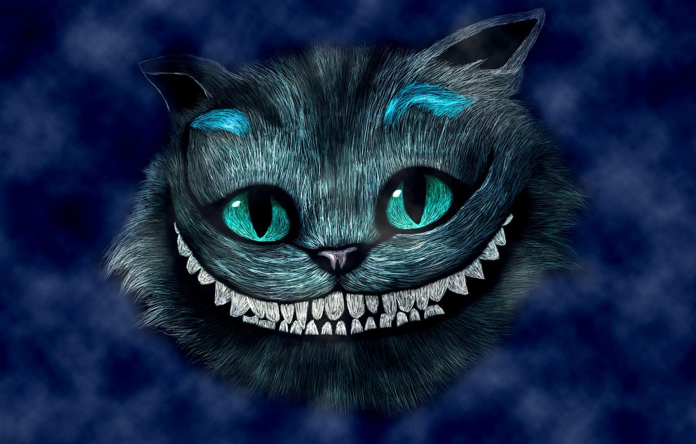Photo wallpaper blue, smile, head, Alice in Wonderland, Alice in Wonderland, Cheshire cat, Cheshire Cat