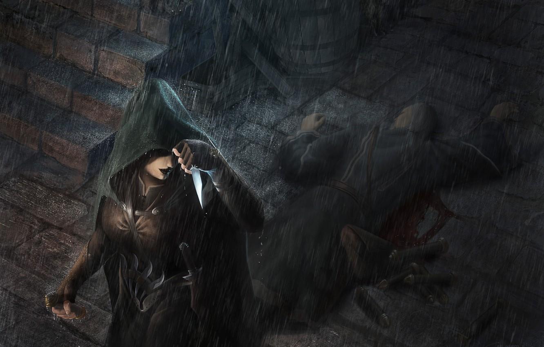 Photo wallpaper girl, rain, the victim, art, knife, hood, steps, cloak, the corpse, killer, assassin, scrolls