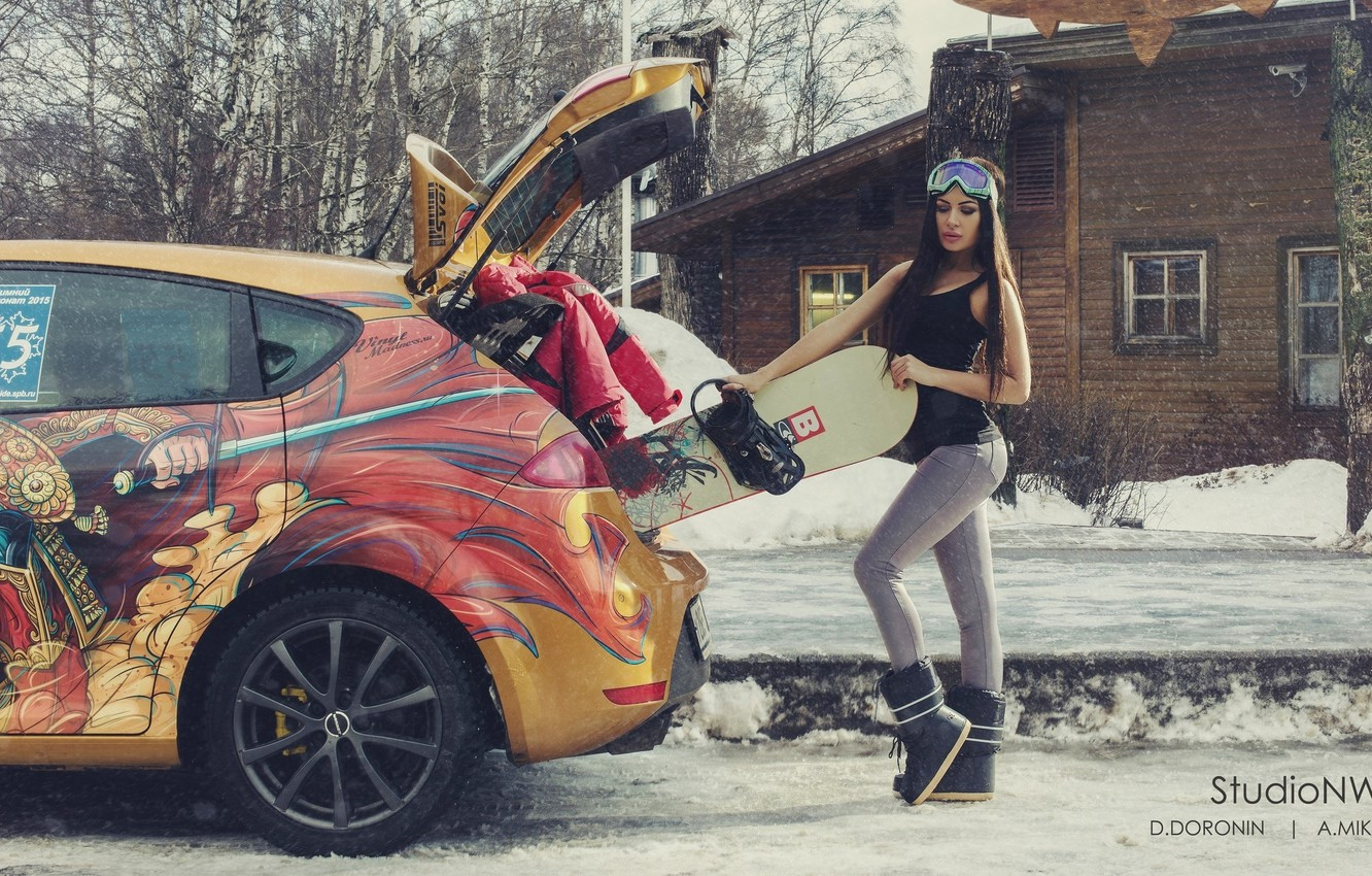Photo wallpaper winter, machine, auto, girl, snow, trees, house, street, snowboard, sport, figure, brunette, glasses, jacket, the …
