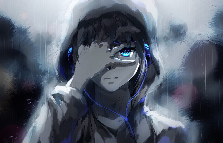 Photo wallpaper people, rain, anime, headphones, tears, art, guy, raku aohane