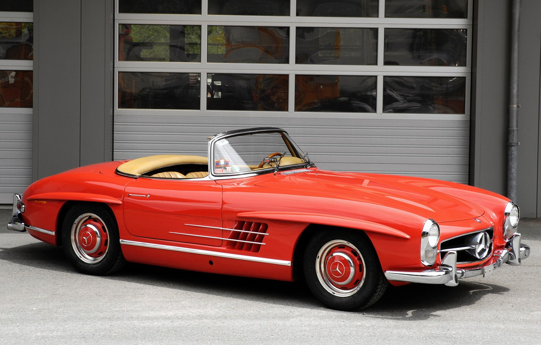 Photo wallpaper red, retro, convertible, mercedes-benz, 300sl