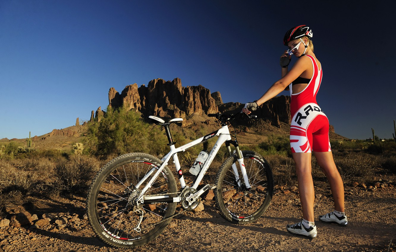 Photo wallpaper girl, mountains, bike, cross country