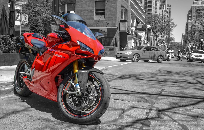 Photo wallpaper machine, red, motorcycle, helmet, red, Ducati, cars, street, superbike, Ducati, pearls, 1098S
