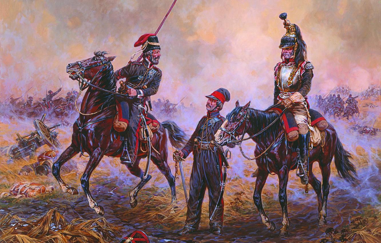 Photo wallpaper war, painting, A. Averyanov, captive, cuirassiers, 1812, French, domestic