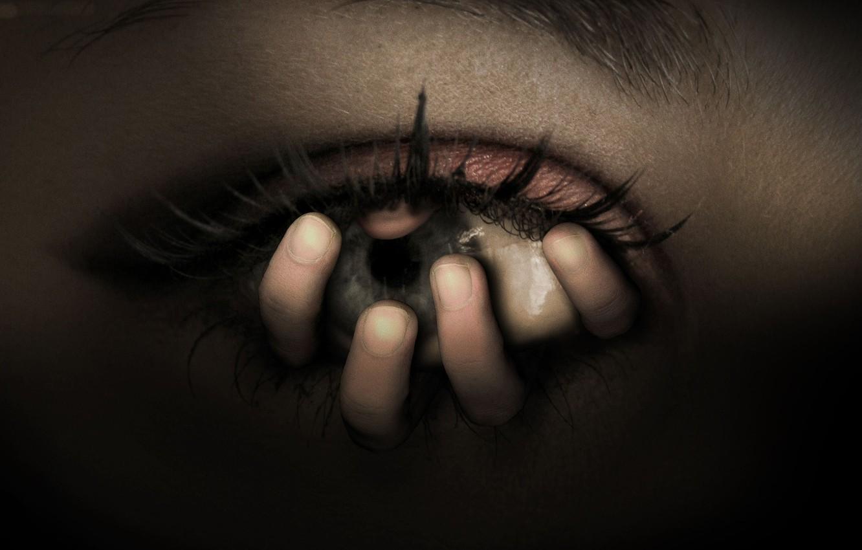 Photo wallpaper Eyes, Hand, Fear, Horror, Horror
