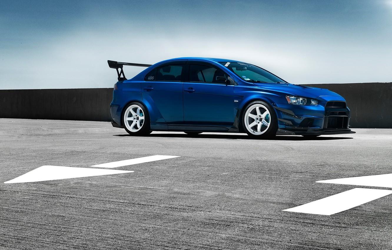 Photo wallpaper Mitsubishi, Lancer, Car, Evolution, Blue, Front, Wheels, Spoiler