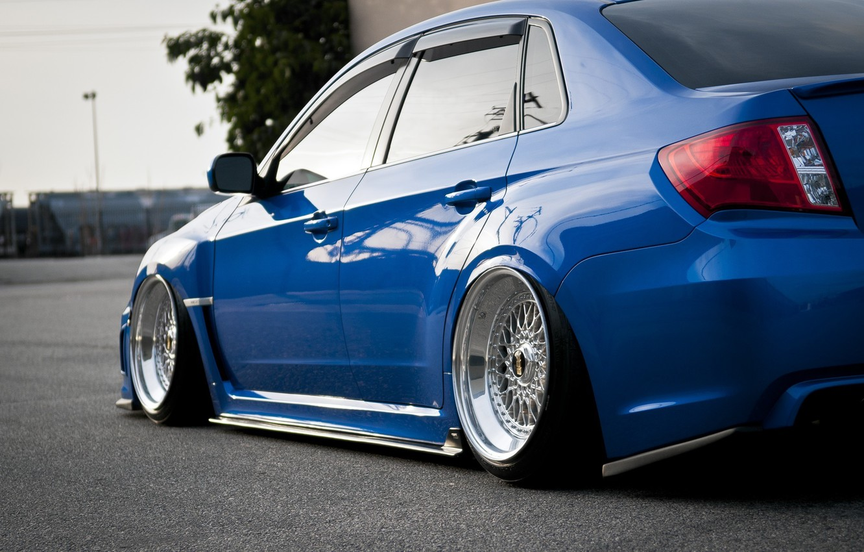 Photo wallpaper Subaru, Impreza, Blue, WRX, Blue, Drives, JDM, Wheels