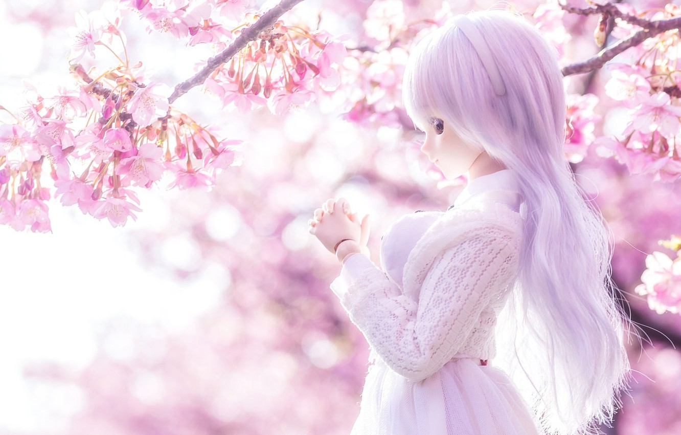 Photo wallpaper flowers, cherry, toy, doll, lilac, long hair