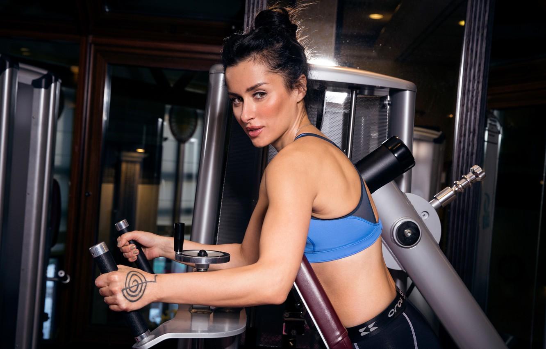 Photo wallpaper Girl, Sport, Face, Brunette, Tattoo, fitness, Beauty, Relief, fitness, Tina Kandelaki, Tina Kandelaki, Tinatin, Tinatin, …