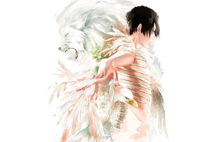 Photo wallpaper bird, Leo, feathers, bones, guy, art
