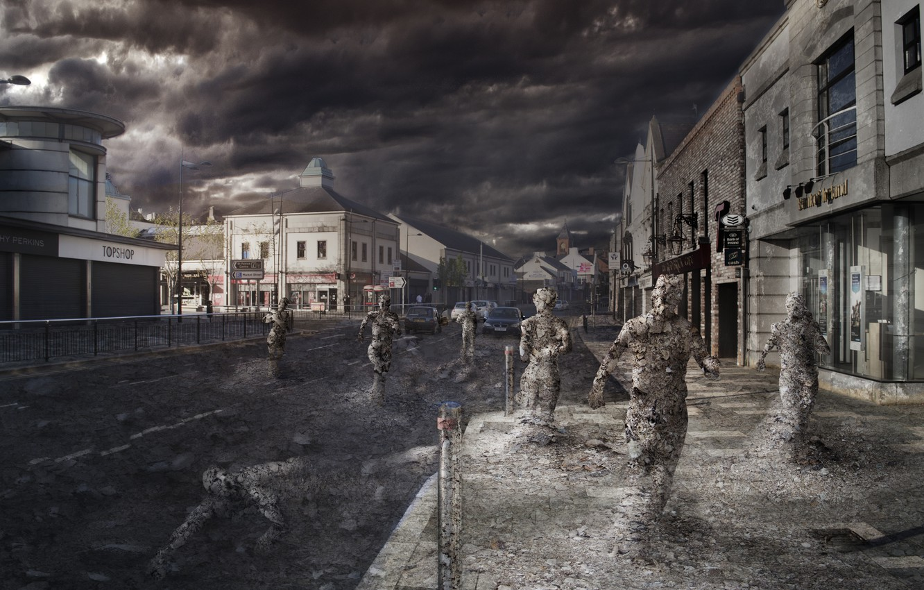 Photo wallpaper clouds, the city, ash, people, art, the end of the world, pustosh