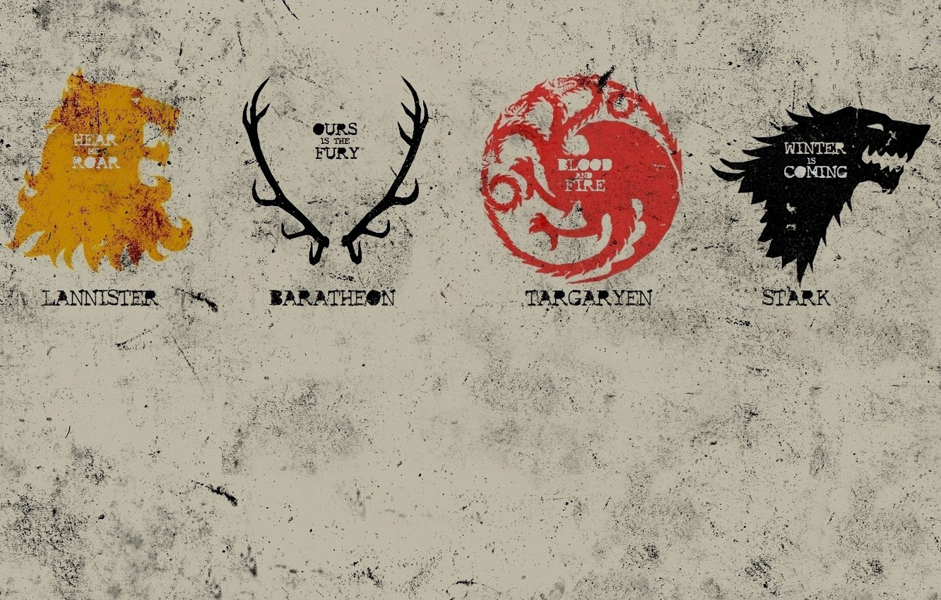 Photo wallpaper dragon, home, Leo, deer, the direwolf, emblems, game of thrones, Game of thrones, Stark, Lannister, …