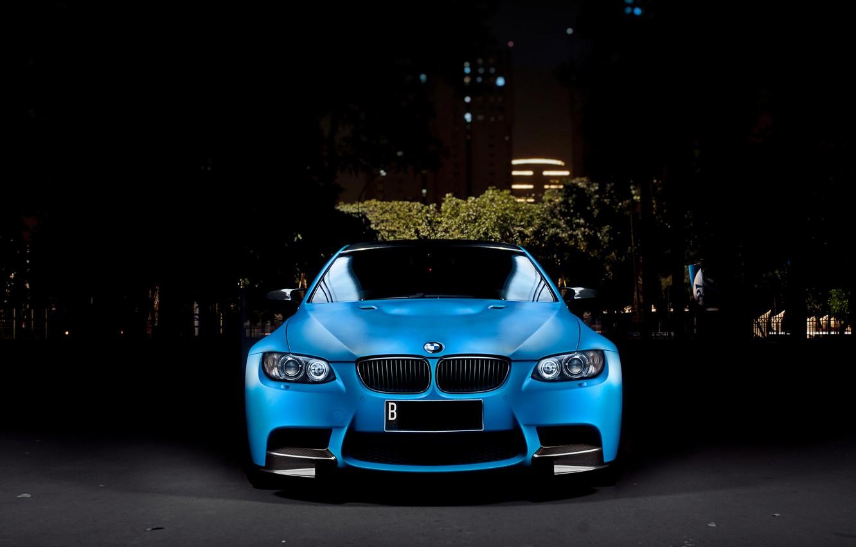 Photo wallpaper Auto, Night, Blue, The city, BMW, Tuning, Machine