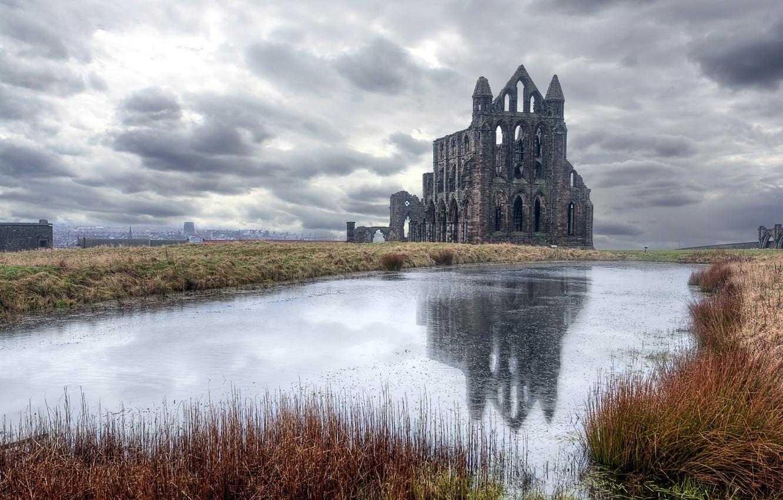 Wallpaper lake, castle, England, Whitby