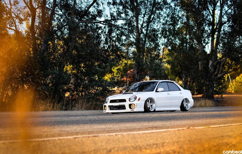Photo wallpaper road, car, auto, tuning, lowrider, subaru impreza, Subaru